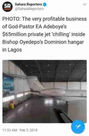 Pastor Adeboye Parks His $65m Private Jet In Oyedepo's Hangar In Lagos (Photo)